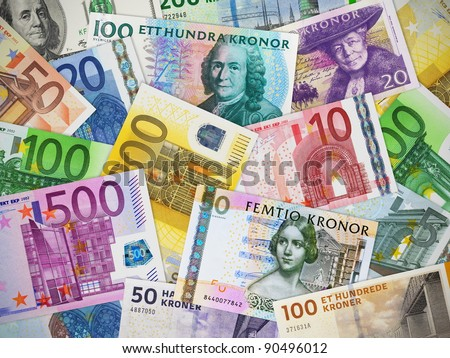 Financial concept: big collection of different paper currencies: Euro, US dollar, Swedish krona and Danish krone - stock photo