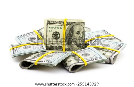 Financial concept. Bundle of dollar bills isolated on white background - stock photo