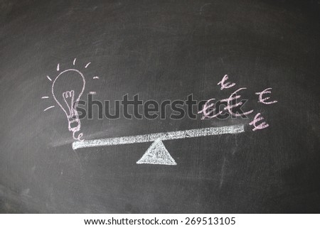 Financial concept designed with colored chalk on blackboard. This photo may use as financial background. Illustration is showing the balance between currency and idea and concept.  - stock photo