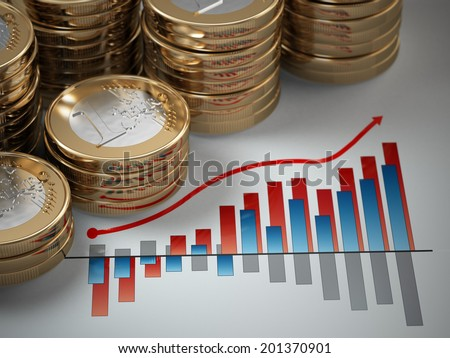 Financial concept.  Euro coins on graph. 3d - stock photo