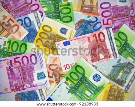 Financial concept: heap of different Euro banknotes - stock photo