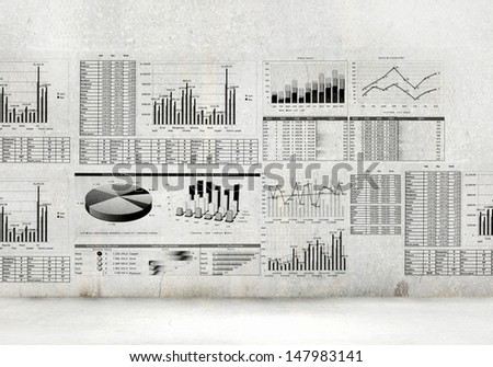 Financial concept image with hand drawn diagrams and graphs - stock photo