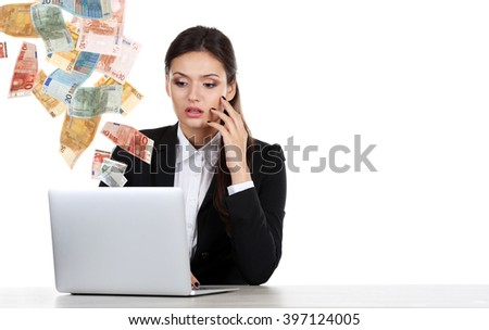Financial concept. Make money on the Internet. Business lady with laptop isolated on white - stock photo