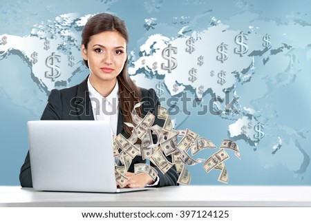 Financial concept. Make money on the Internet. Business lady with laptop on world map background - stock photo