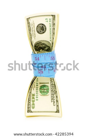 Financial concept - measuring money on white - stock photo