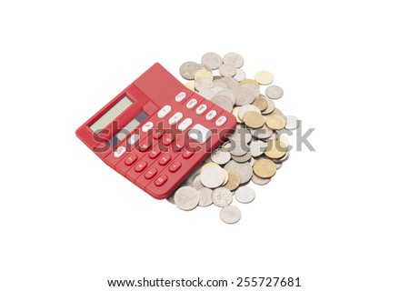 Financial concept,  view of coins and calculator. - stock photo