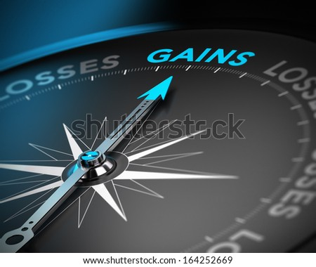 Financial consulting concept. Compass needle pointing the word gains over black background with blur effect - stock photo