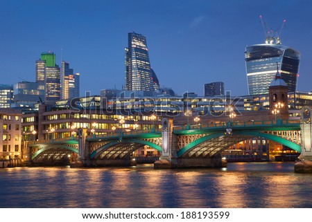 Financial Corporate building Skyscrapers office center at night, City of London  - stock photo