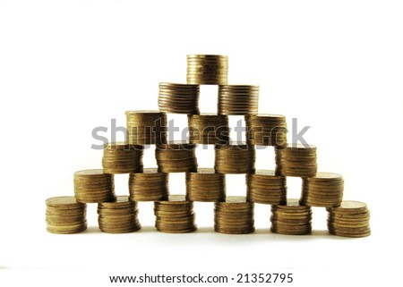 Financial crisis, collapse of investment as diminished money piles - stock photo