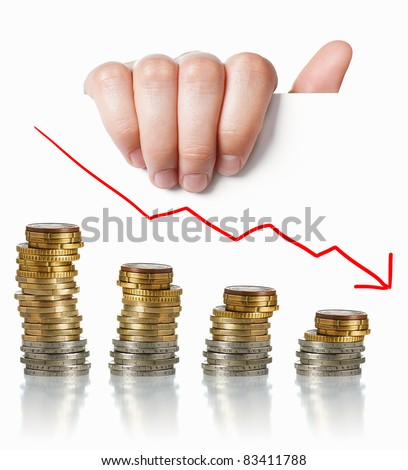Financial crisis concept: Hand holding white paper with coins and negative graph - stock photo