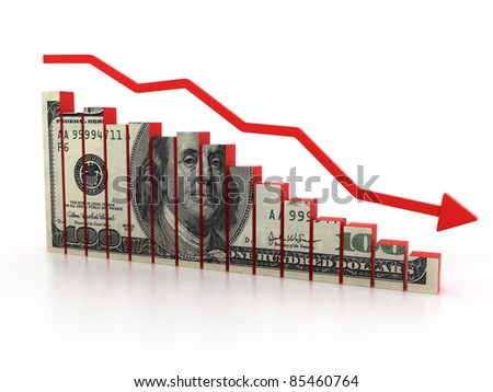 financial crisis, dollar  diagram - stock photo