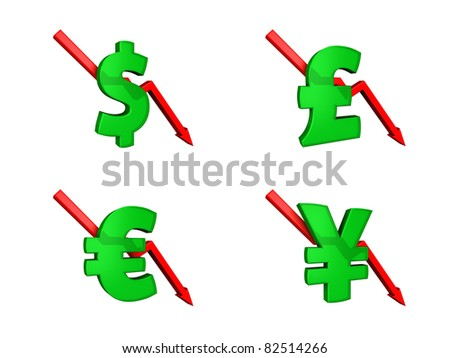 Financial crisis dollars down - stock photo
