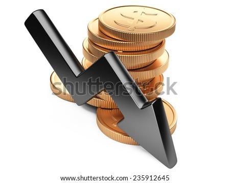 Financial crisis graphic design. Diagram of golden coins and black arrow down  - stock photo