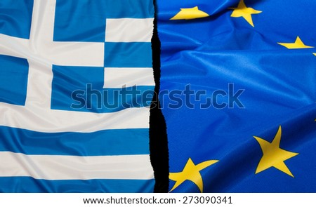 Financial Crisis in Greece - Greek Flag and Flag of European Union - stock photo