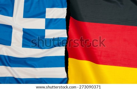 Financial Crisis in Greece - Greek Flag and Flag of Germany - stock photo