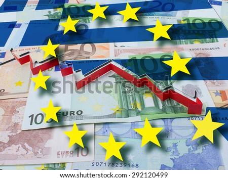 Financial crisis in Greece red arrow. Concept illustration - stock photo