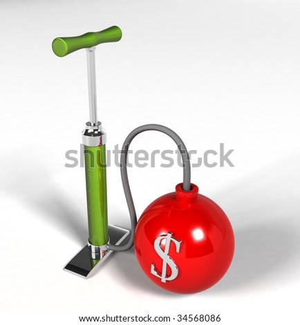 Financial Crisis - pump dollar Bomb - stock photo