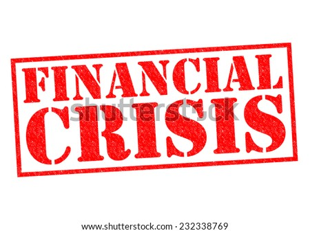 FINANCIAL CRISIS red Rubber Stamp over a white background. - stock photo