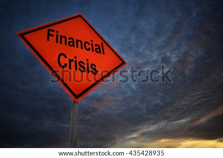 Financial Crisis warning road sign with storm background - stock photo
