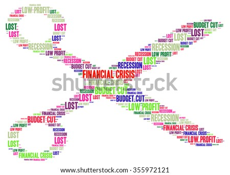 FINANCIAL CRISIS. Word collage on white background. Illustration with different association terms. - stock photo