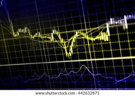 Financial data graph at stock exchange