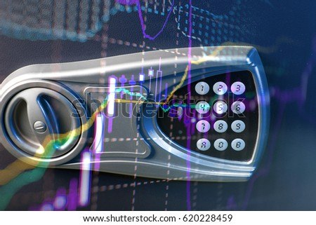 Financial data on a monitor as Finance data concept. Analytics Report Status Information Analysis Chart Graph in digital screen. Business analyzing financial statistics displayed on the tablet screen