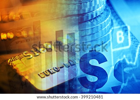 Financial data on a monitor. Finance data concept.  - stock photo