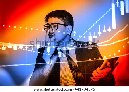 Financial data on a monitor which including of Market Analyze. Bar graphs, Diagrams, financial figures. Forex chart. - Finance data concept. - stock photo