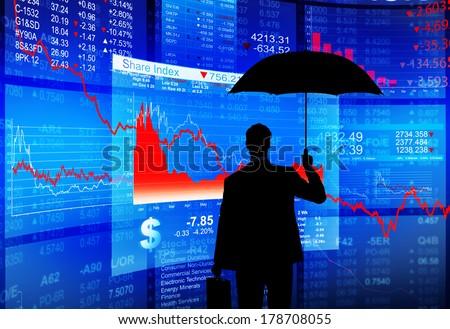 Financial Debt Protection: Businessman with Umbrella - stock photo