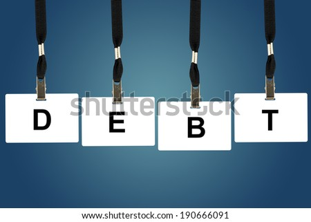 financial debt word on badge with blue background - stock photo