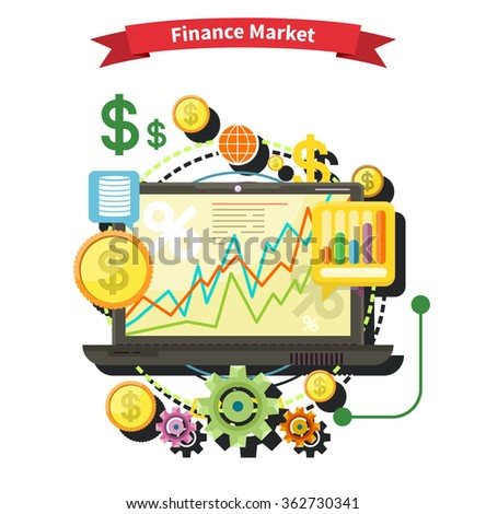 Financial diagram laptop monitor. News finance market. Business stock exchange. Financial planning accounting corporate financial strategy. Price movement. Stock exchange rates flat. Raster version - stock photo