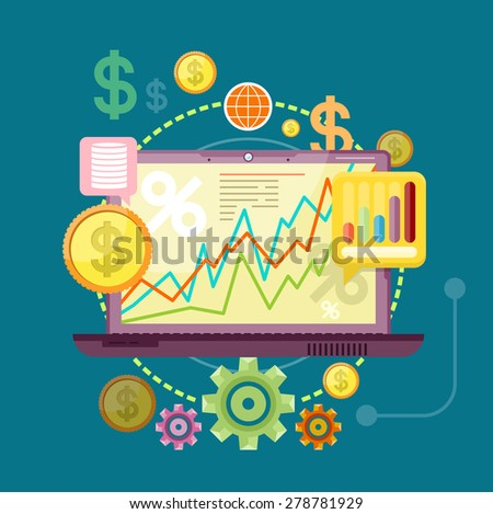 Financial diagram on a laptop monitor. News from finance market. Concept in flat design style. Can be used for web banners, marketing and promotional materials, presentation templates. Raster version - stock photo