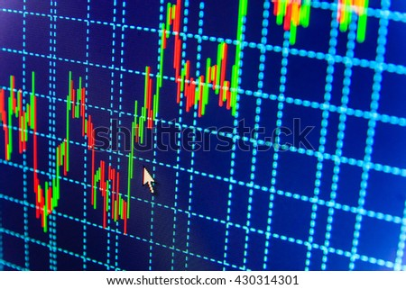 Financial diagram with candlestick chart. Financial graph on a computer monitor screen. Forex market charts on computer display. Market trading screen. Finance concept. Shallow DOF.   - stock photo