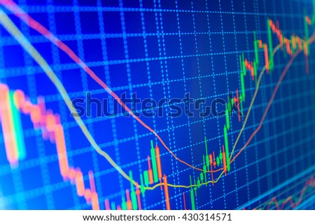 Financial diagram with candlestick chart. Financial graph on a computer monitor screen. Forex market charts on computer display. Market trading screen. Finance concept. Shallow DOF.