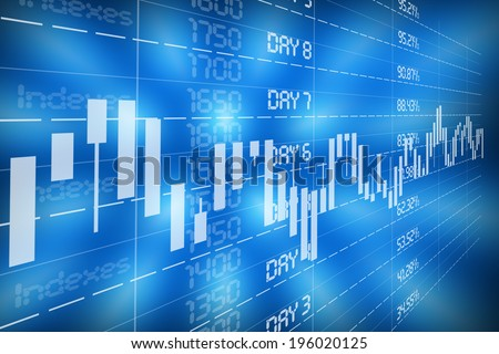Financial diagram with candlestick chart used in stock market analysis for variation report of share prices - stock photo