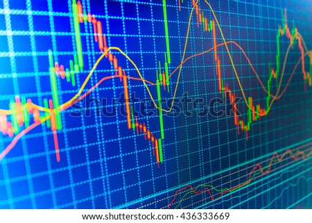 Financial diagram with candlestick chart. World economics graph. Live stock trading online. Data on live computer screen. Stock market quotes on display. Online forex data. Stock analyzing.