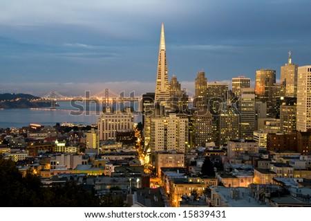 Financial district at San Francisco, California at dusk. - stock photo