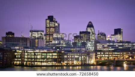 Financial District. City of London one of the leading centres of global finance.this view includes :Tower 42 Gherkin,Willis Building, and Stock Exchange Tower. - stock photo