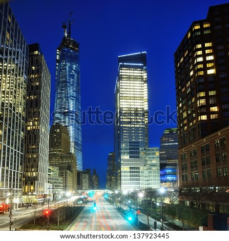 Financial district cityscape of New York City - stock photo