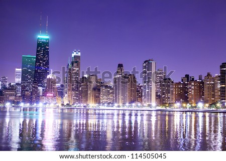 financial district (night view Chicago) - stock photo