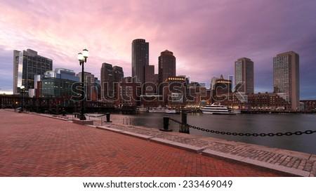 Financial District of Boston at Sunset, Boston, Massachusetts, USA - stock photo