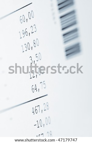 Financial document on white background Macro photo with shallow DOF and space for your text