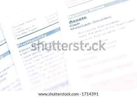 """Financial documents with focus on word """"Profitability"""". Very easy to shift colours. - stock photo"""