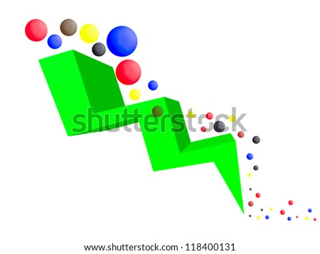 Financial downward trend, white background