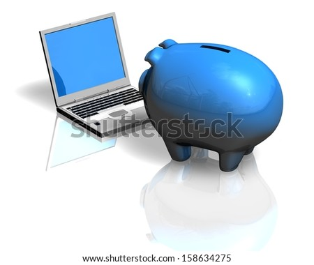 financial education concept illustration with piggy bank and computer - stock photo