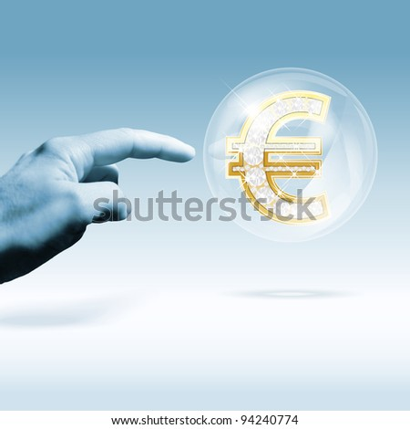 Financial euro-crisis concept. Combination of photo and graphic. - stock photo