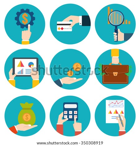 Financial examiner icon. Economic statistic icon. Money in hands icons - stock photo