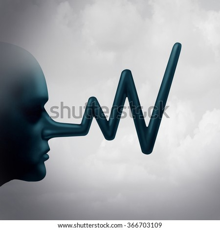 Financial false reporting concept and accounting fraud  in a stock market report as a person with a long liar nose shaped as a profit chart graph as a metaphor for business corruption and misconduct. - stock photo