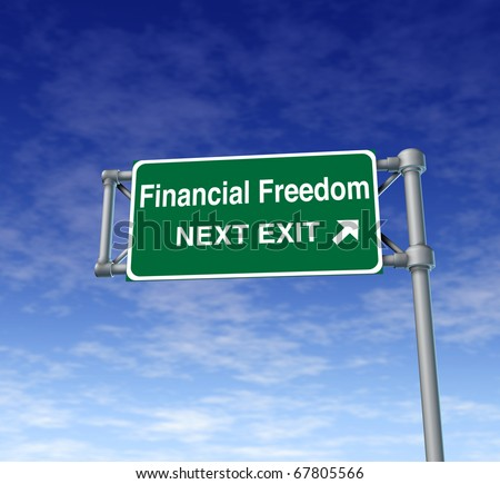 financial freedom business Freeway Exit Sign highway street symbol green signage road symbol - stock photo