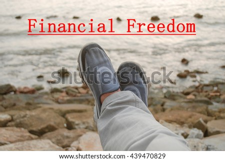 Financial freedom concept.A man spent quality time at a beach.Relaxing mind - stock photo